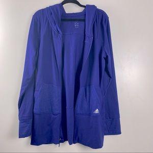 Adidas Oversized Hooded Track Jacket Blue Large